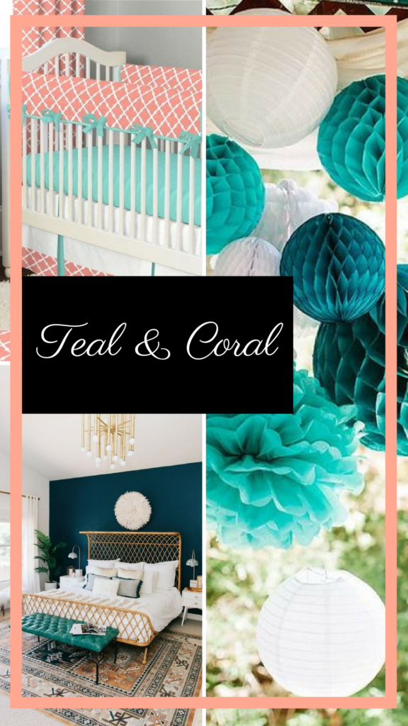 Moodboard in teal and coral for brand design